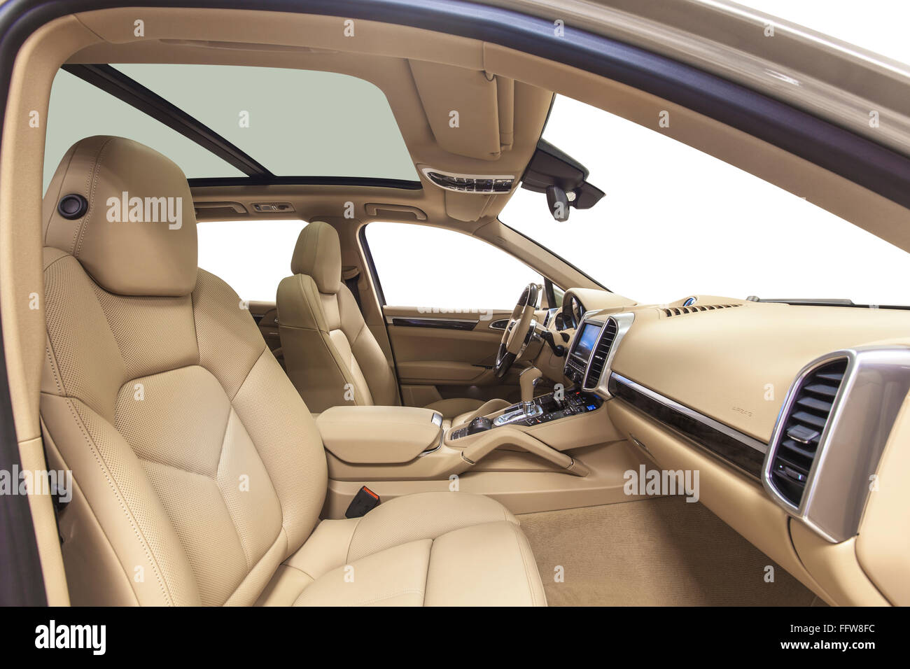 Car Interior Luxury Beige Seats With Panoramic Roof Comfortable