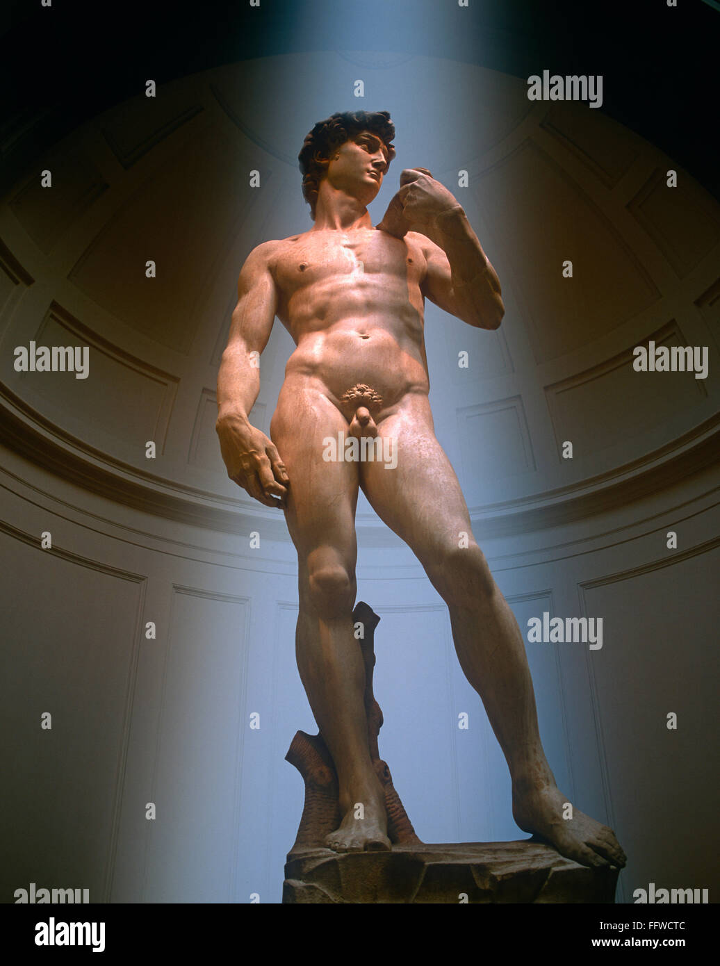 Statue of David by Michelangelo in the Galeria dell Accademia, Florence, Tuscany, Italy - Stock Image