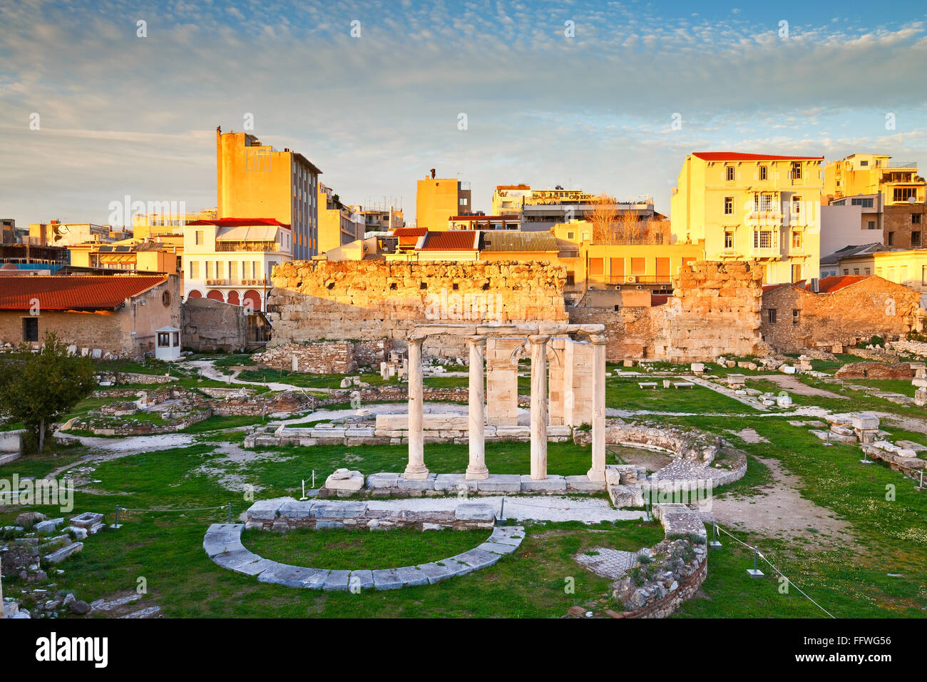 Remains of the Hadrian's Library in Plaka in Athens, Greece. - Stock Image