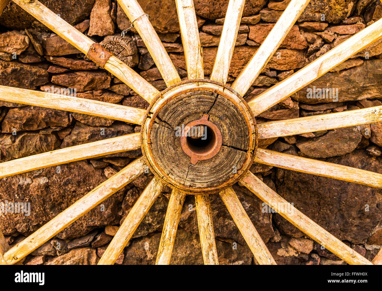 Old wooden cartwheel, El Hoyo, Gran Canaria, Canary Islands, Spain, Europe - Stock Image