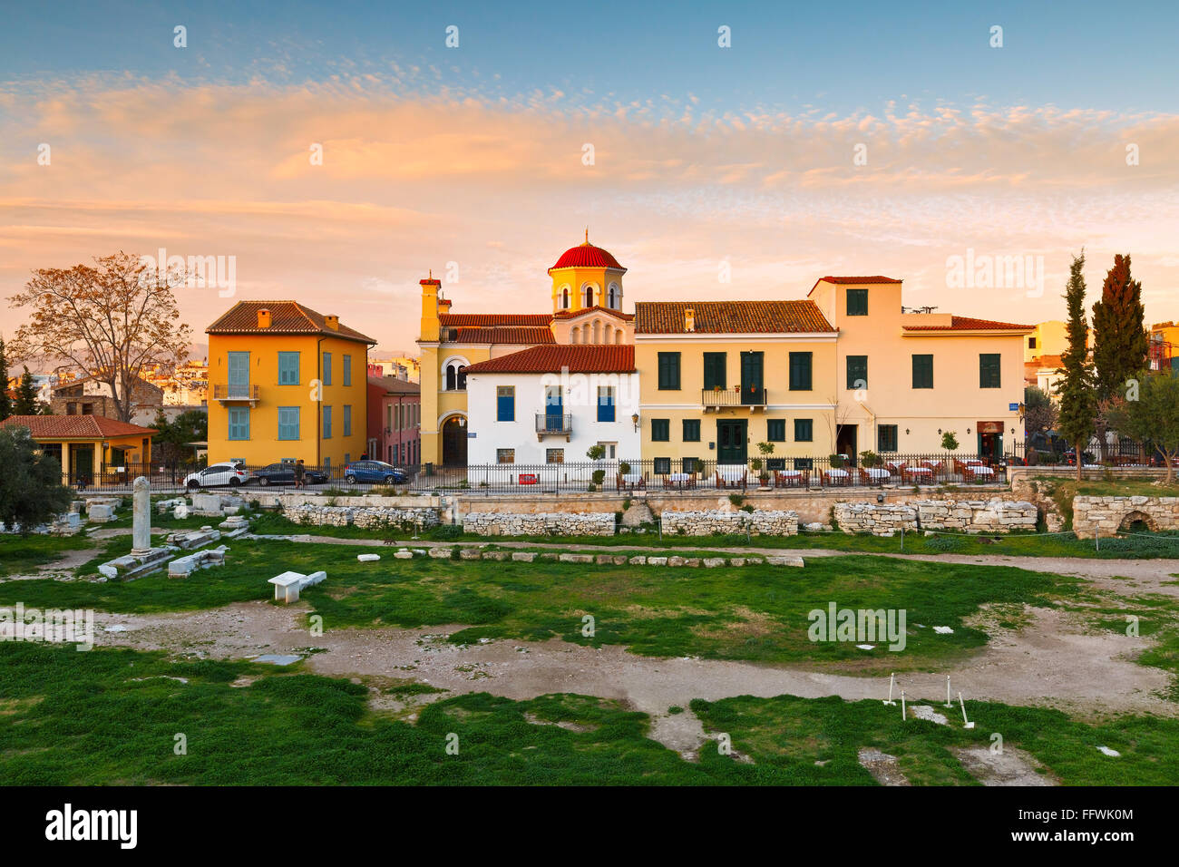Remains of the Roman Agora and houses in the old town of Athens, Greece. - Stock Image