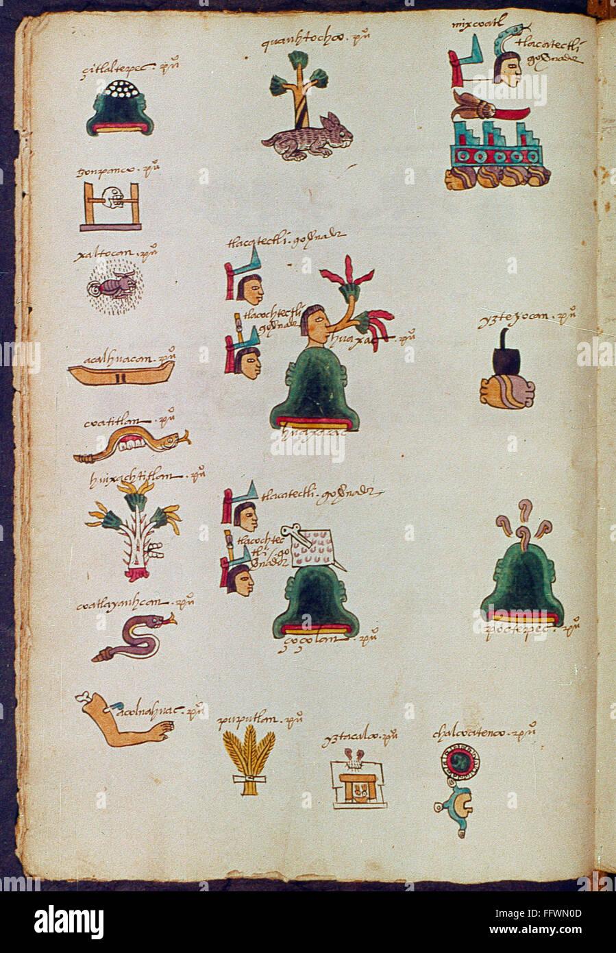 Mexico Aztec Codex Naztec Writing Using Symbols Manuscript Stock