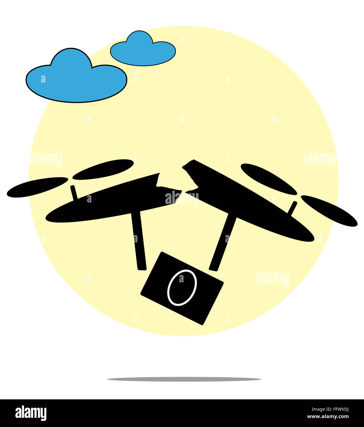 Illustration of broken drone with circle background - Stock Image