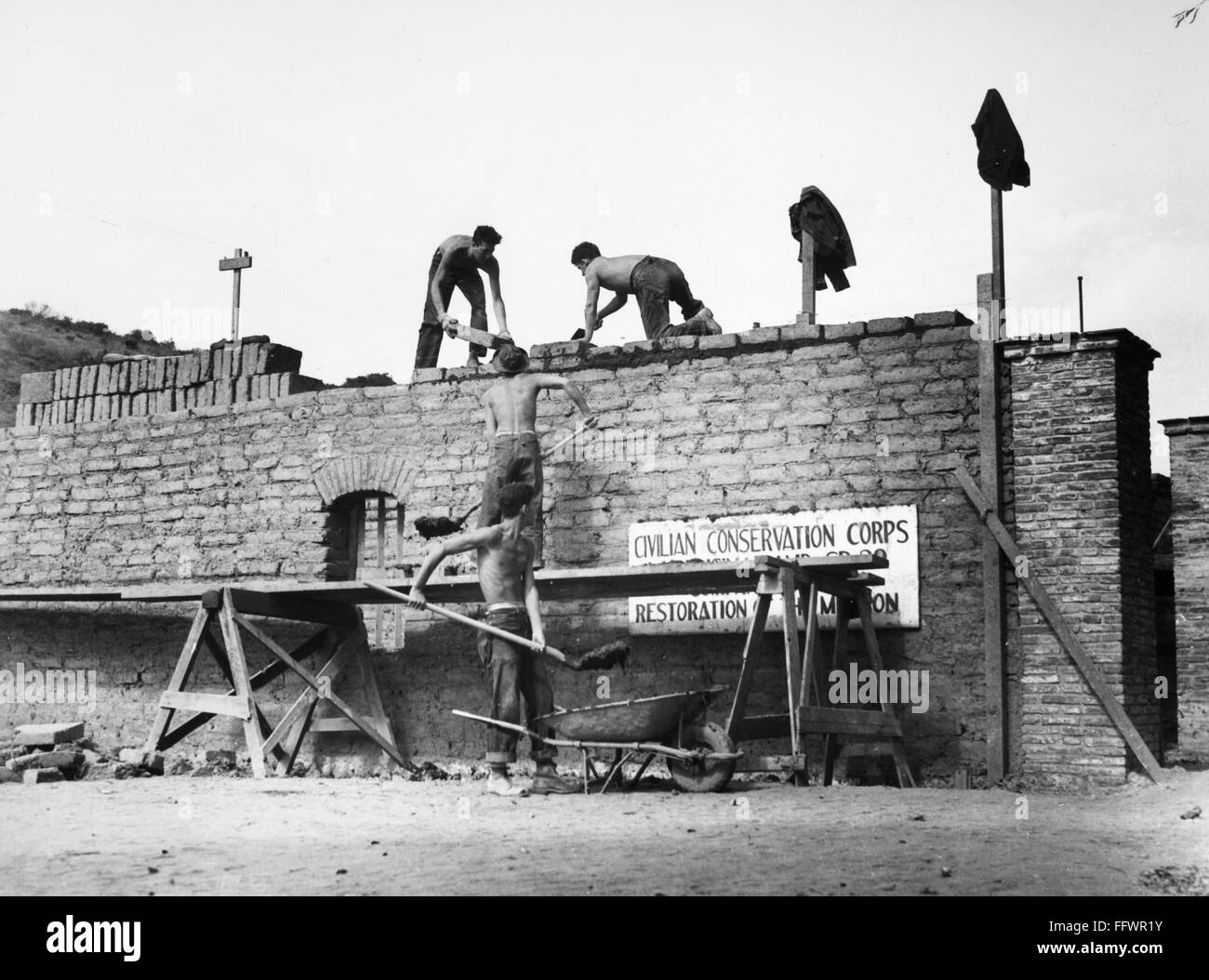 ... Corps Laying Adobe Bricks On The Walls Of A Storage Building At The  Mission Of The Immaculate Conception Near Lompoc, California, September  1938.