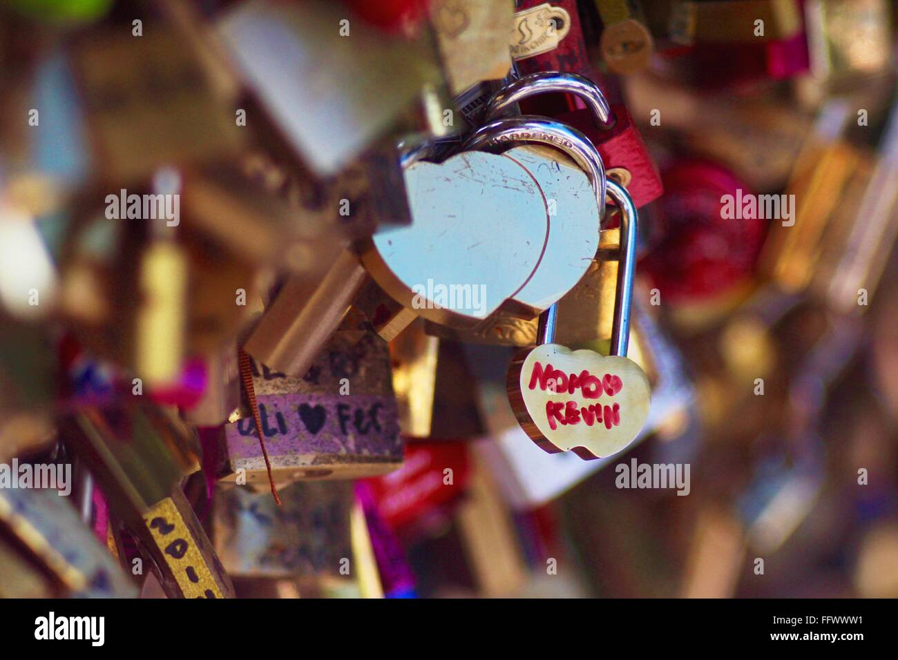Close-Up Of Love Locks - Stock Image