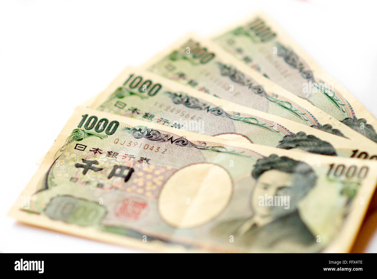 1000 yen notes on a white background. Stock Photo