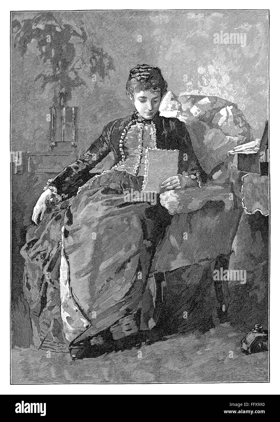 Black and white engraving of a Victorian lady reading a letter while seated in an armchair. Stock Photo