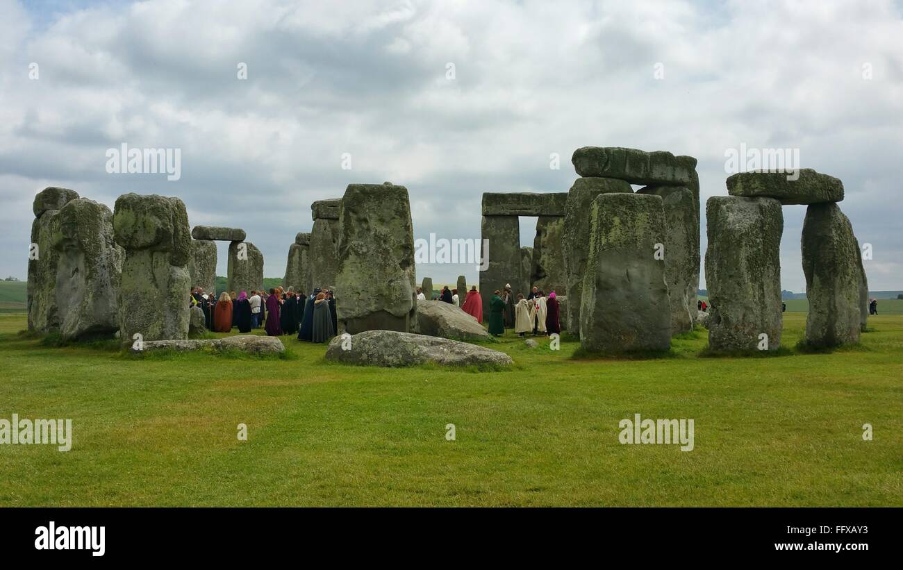 Tourist At Stonehenge - Stock Image