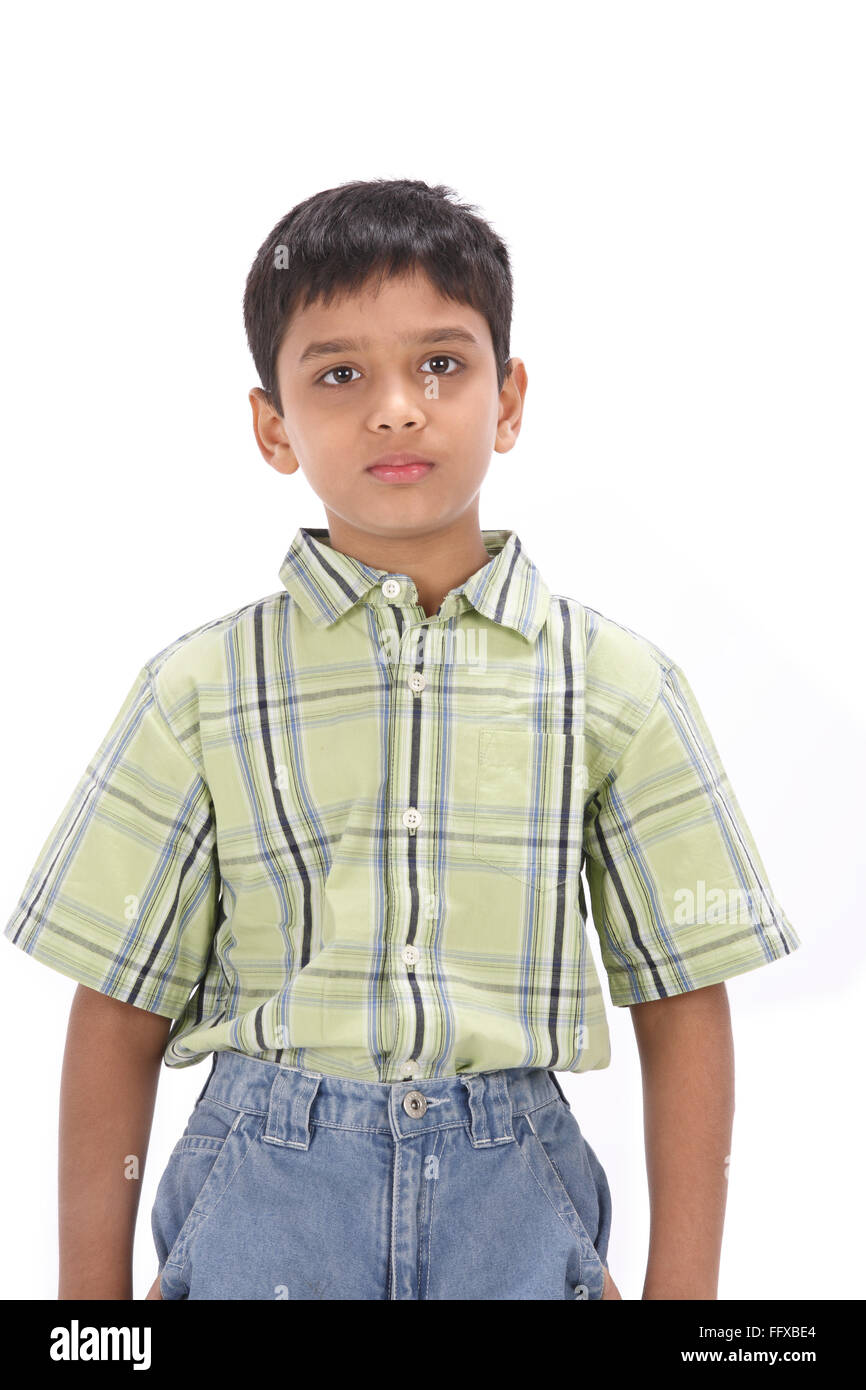 Ten years old boy relaxed looking straight MR#703N - Stock Image