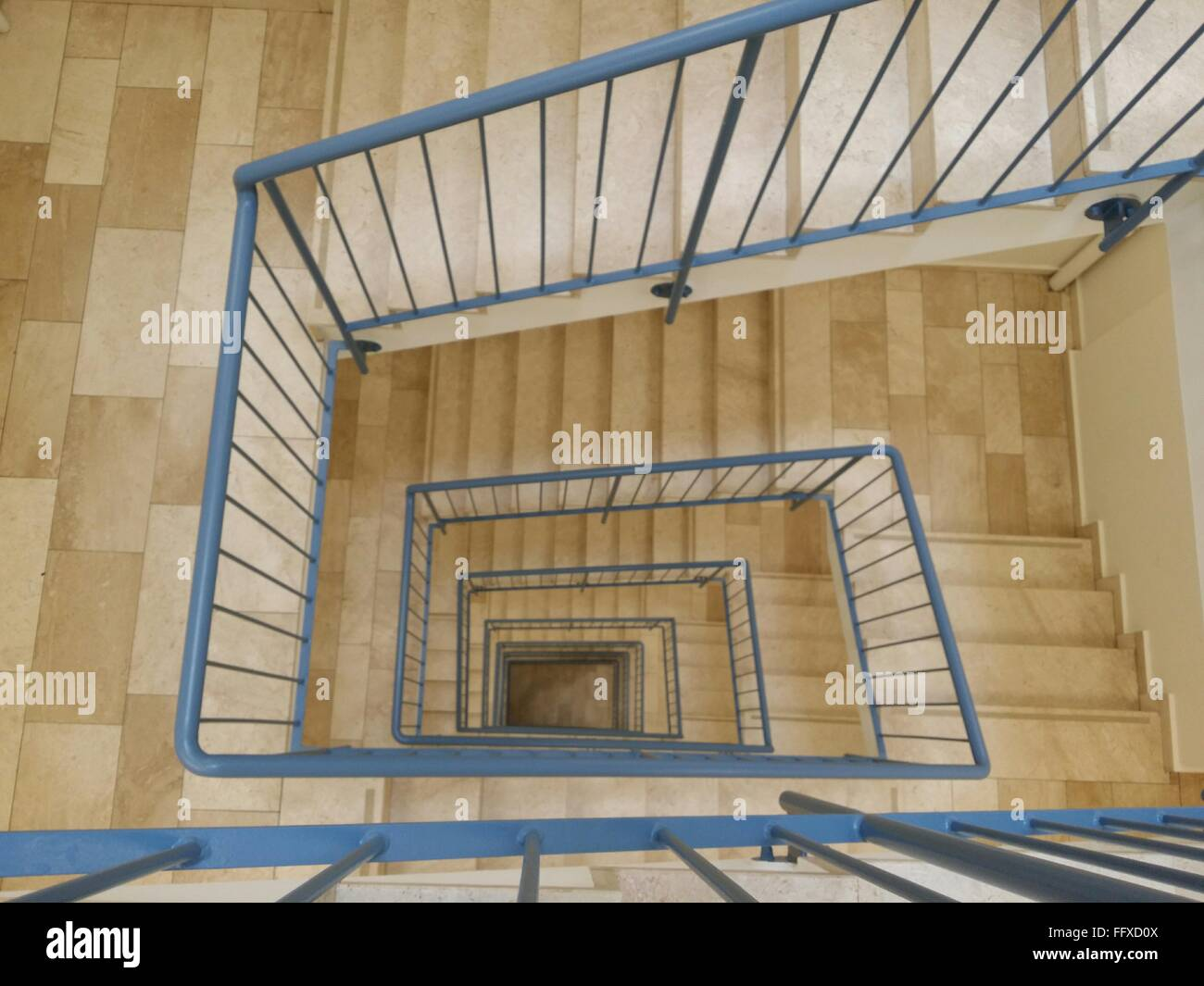 Directly Above Shot Of Spiral Staircases - Stock Image