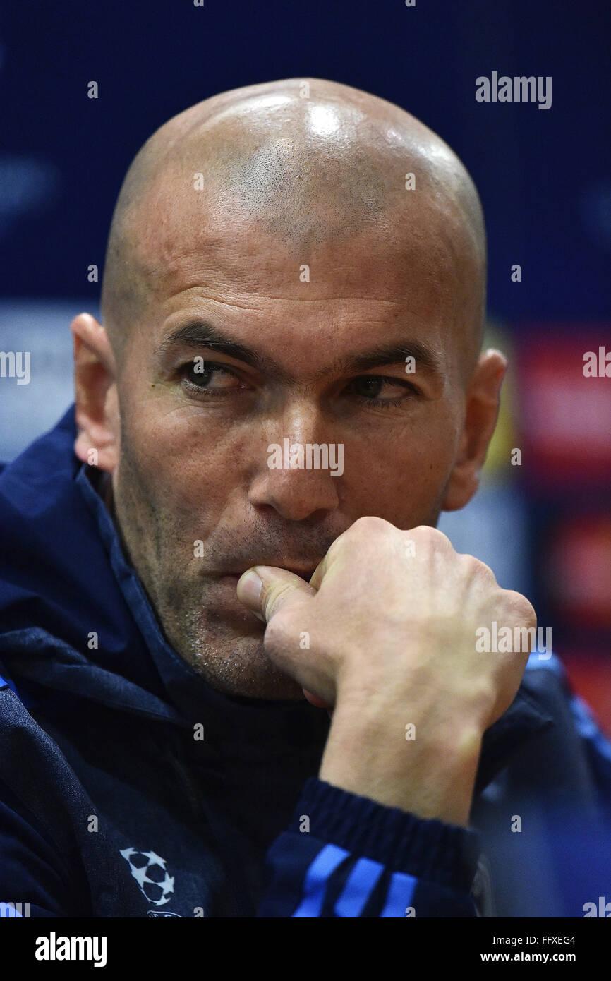 Rome, Italy. 16th Feb, 2016. Zinedine Zidane  Roma 16-02-2016 Stadio Olimpico, Football, Real Madrid press conference - Stock Image