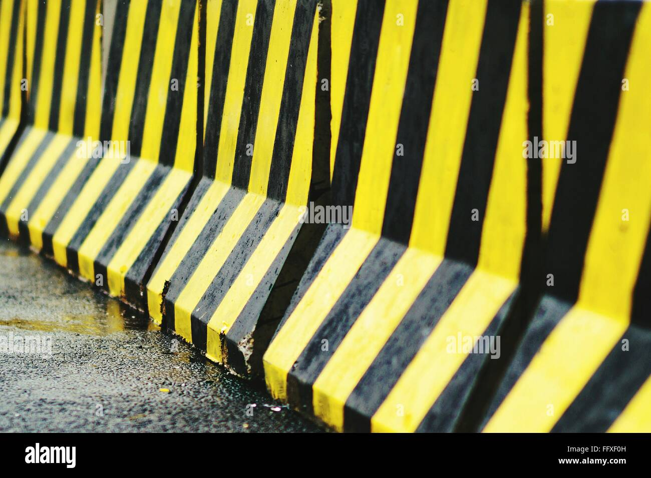 Close-Up Of Barricade On Road - Stock Image