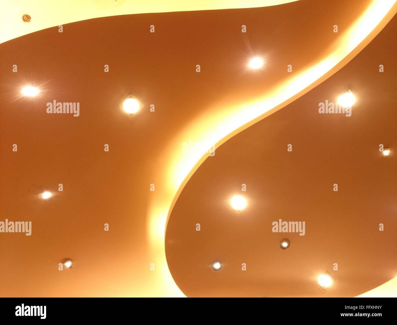 Full Frame Shot Of Recessed Light Ceiling - Stock Image