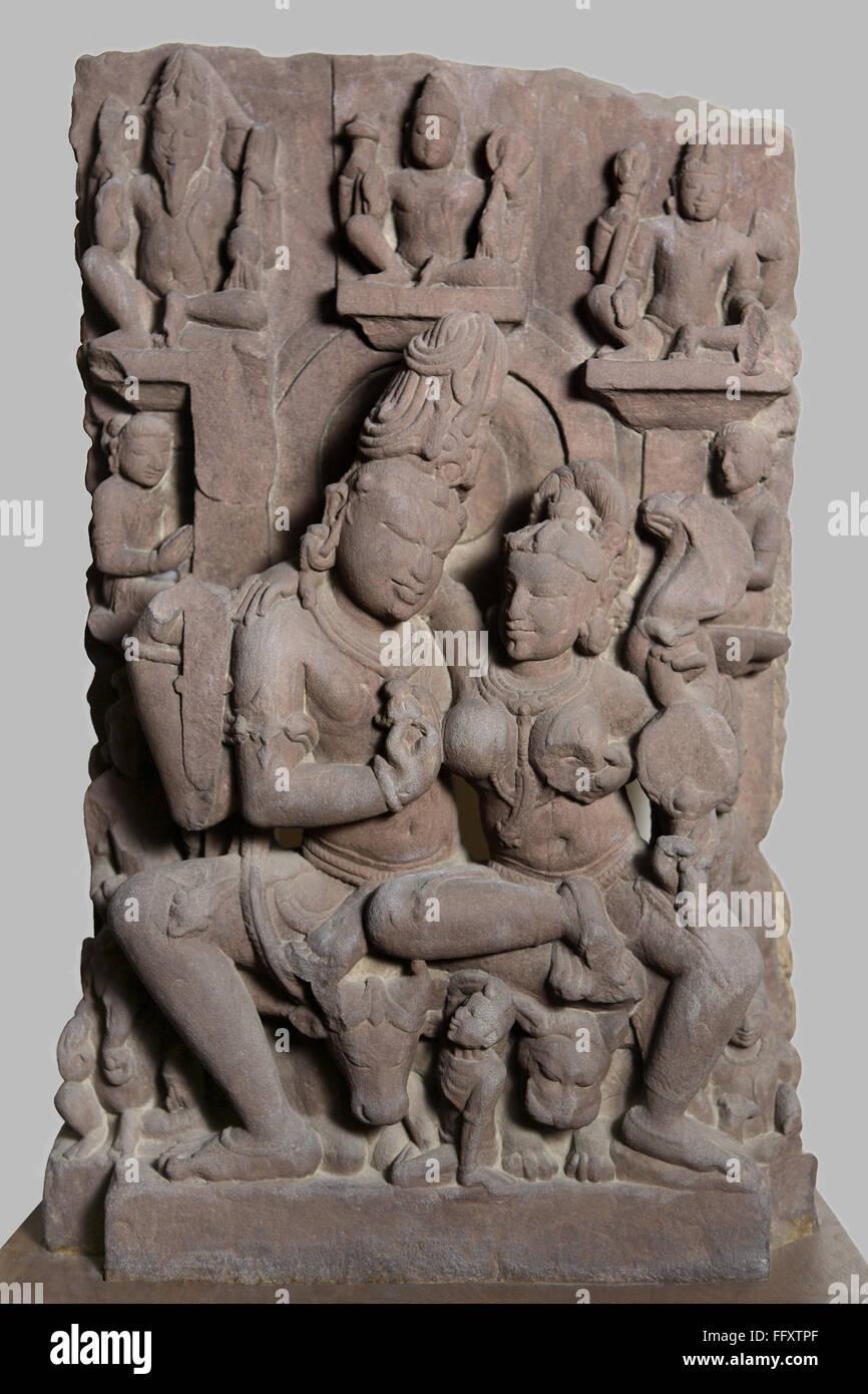 Uma Maheshwar 10th  century AD Shaiv cult  Kalchurian period found at Tewar village , Jabalpur , Madhya  Pradesh - Stock Image