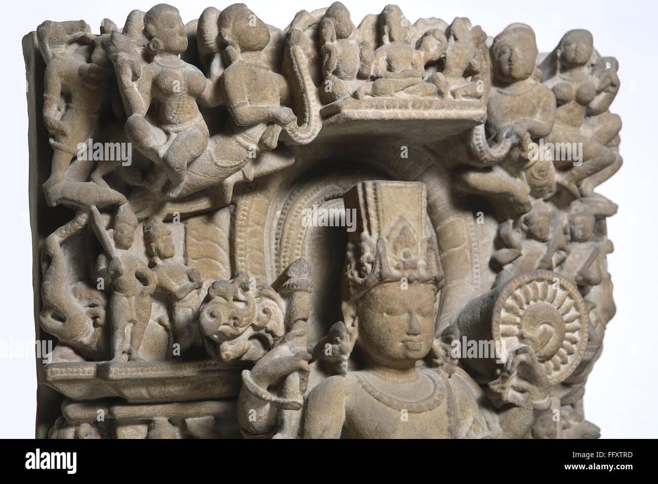 Close up upper portion of Vishnu 10th century AD Vaishnav cult Kalchurian period found at Jabalpur Madhya Pradesh - Stock Image