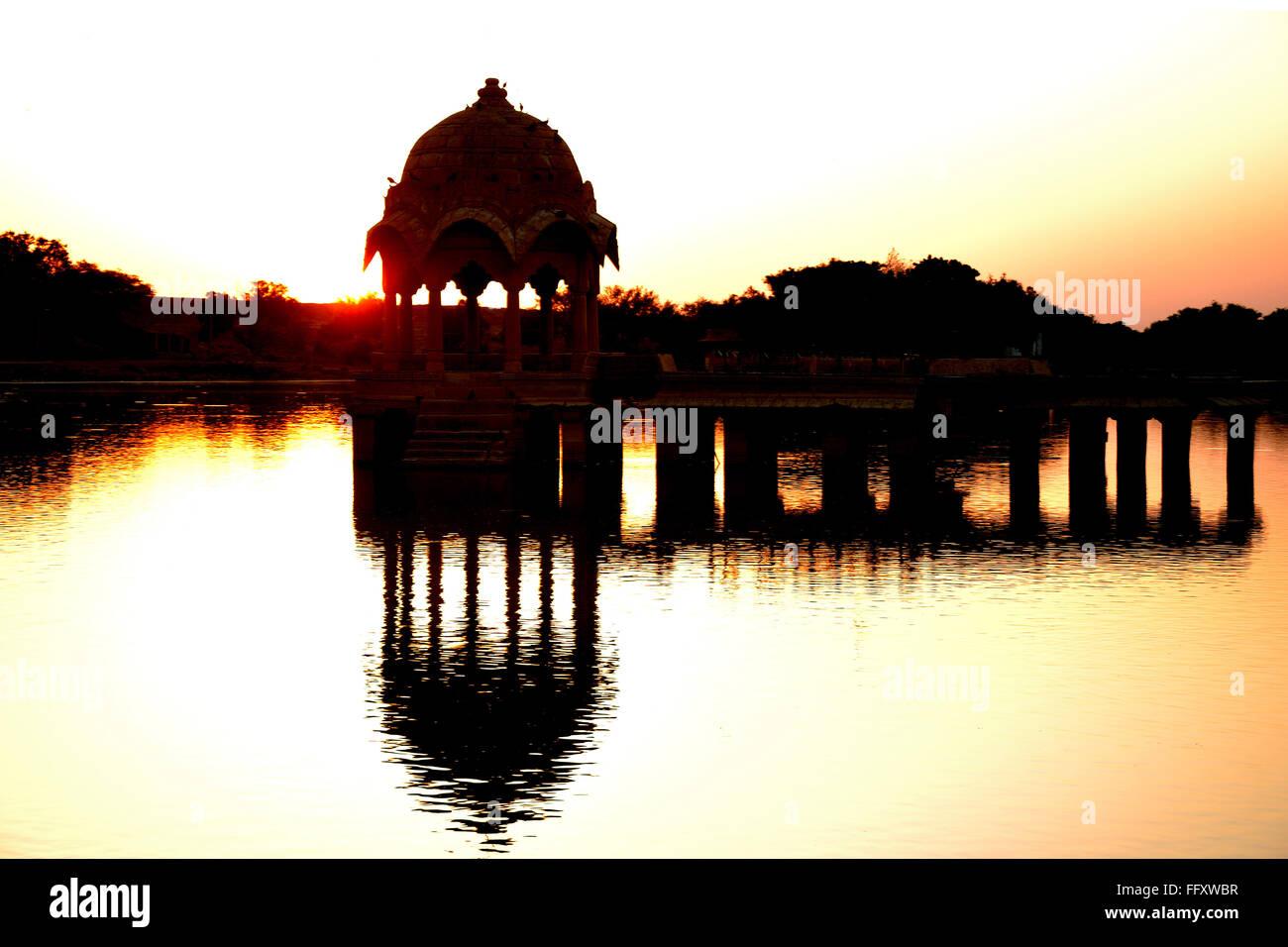 Sun rise at gadisar lake at jaisalmer - Stock Image