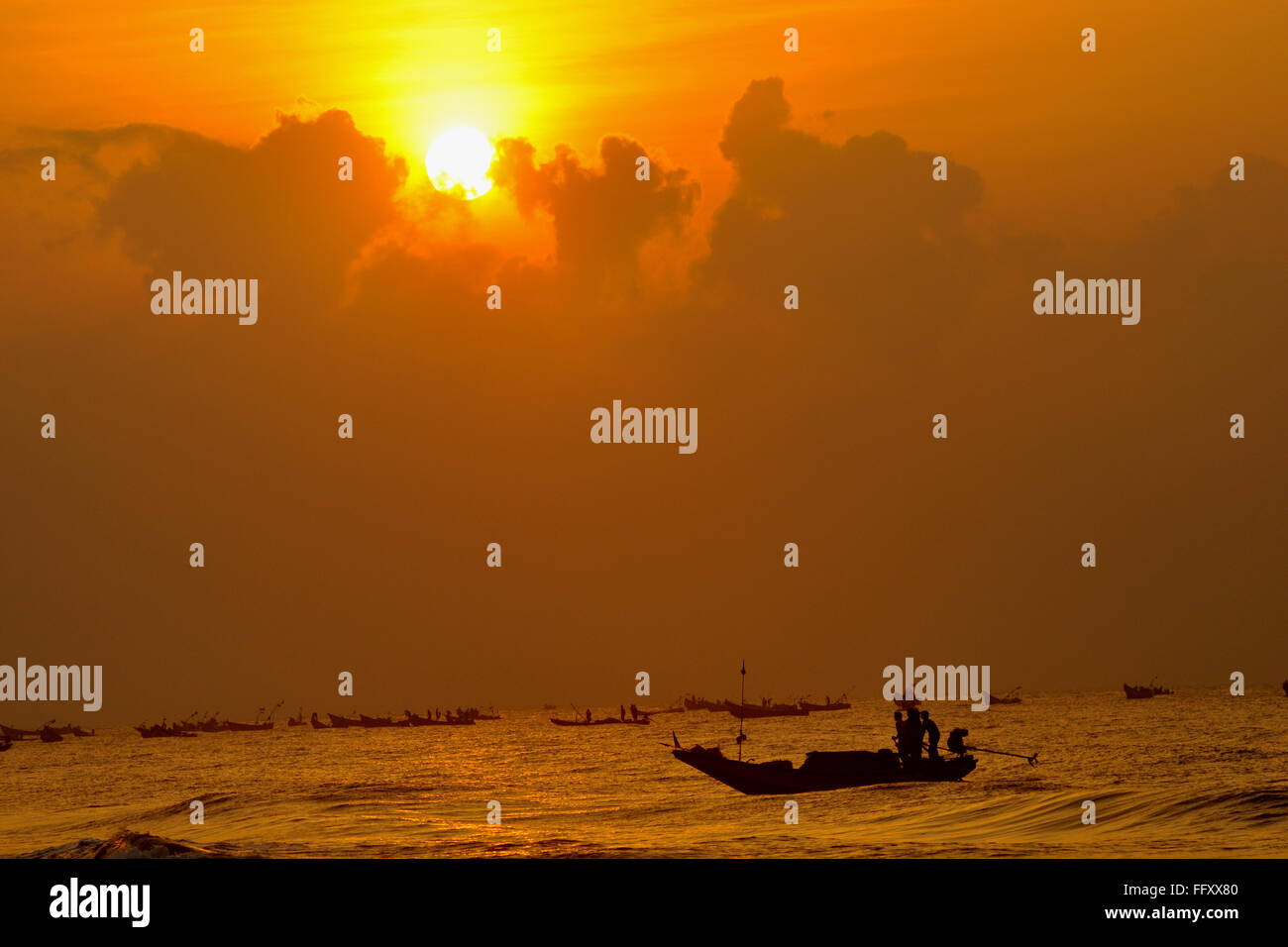 Sun rise at puri orissa India - Stock Image