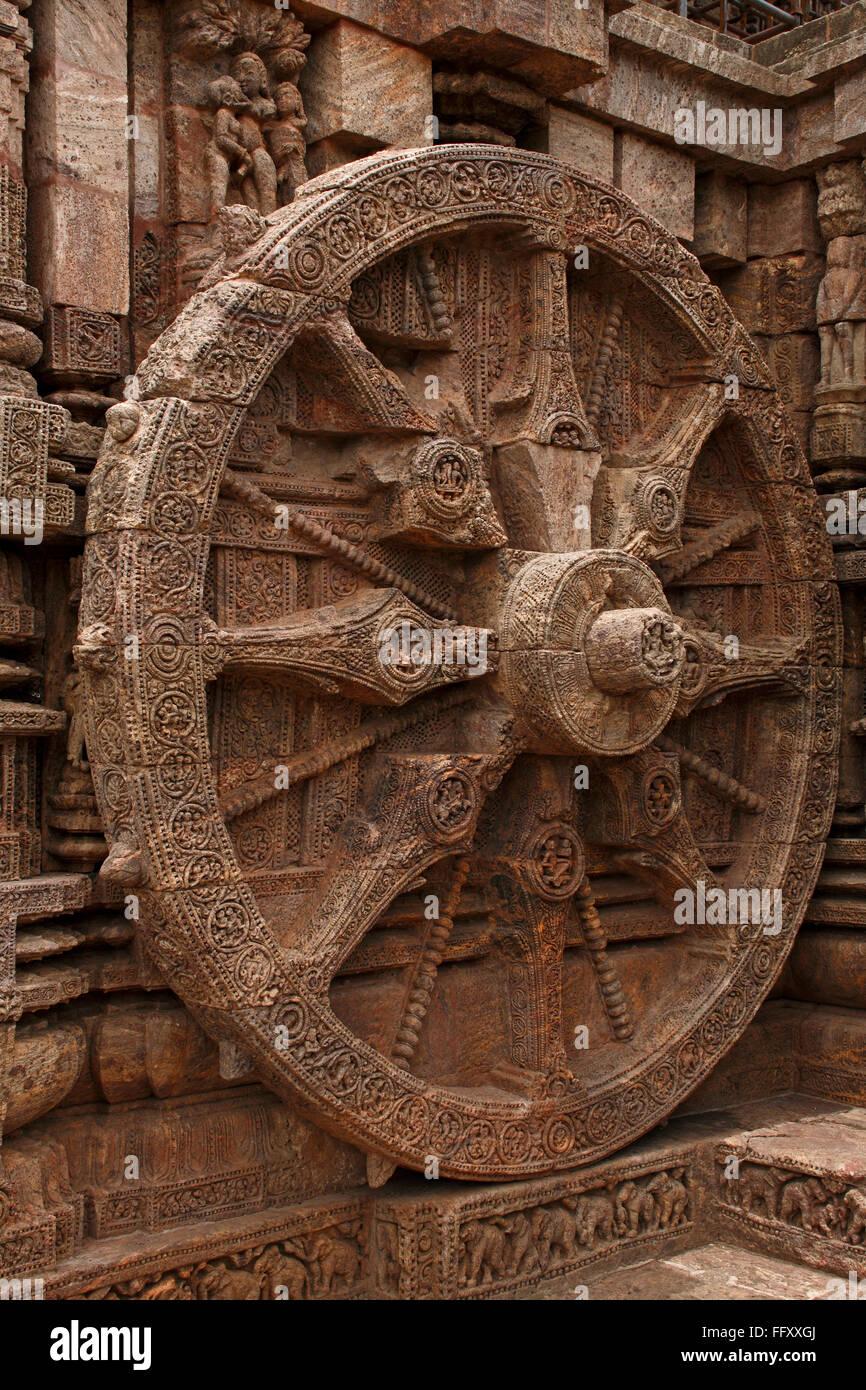 Wheel of chariot of god sun at Sun temple , Orissa , India Unesco World Heritage site - Stock Image