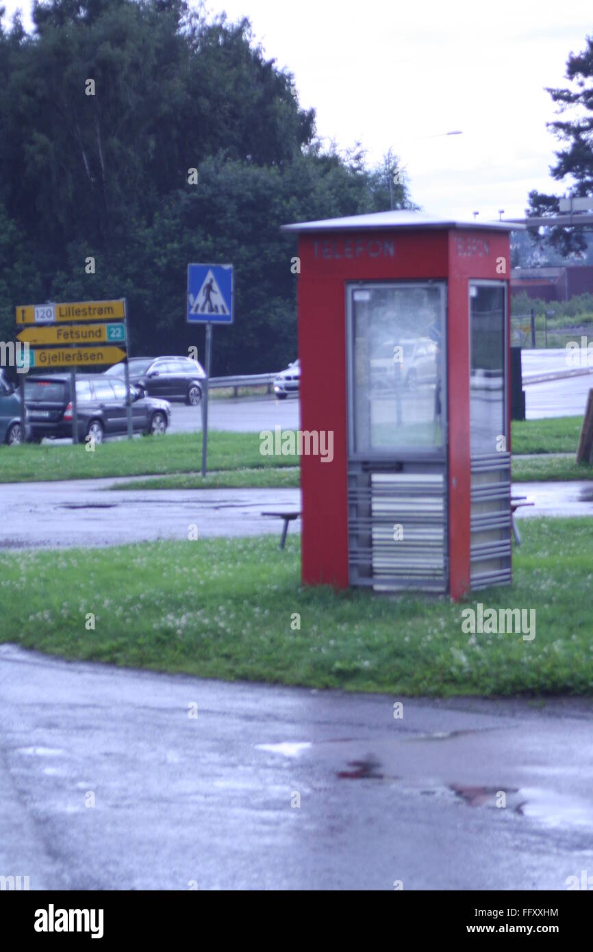 Old phone booth in Kjeller, Norway - Stock Image