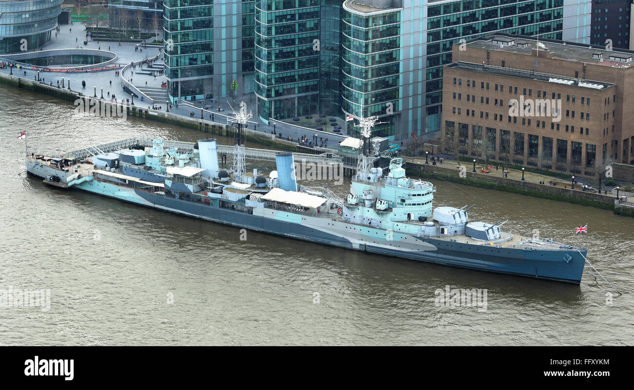 HMS Belfast on the river Thames in London City - Stock Image