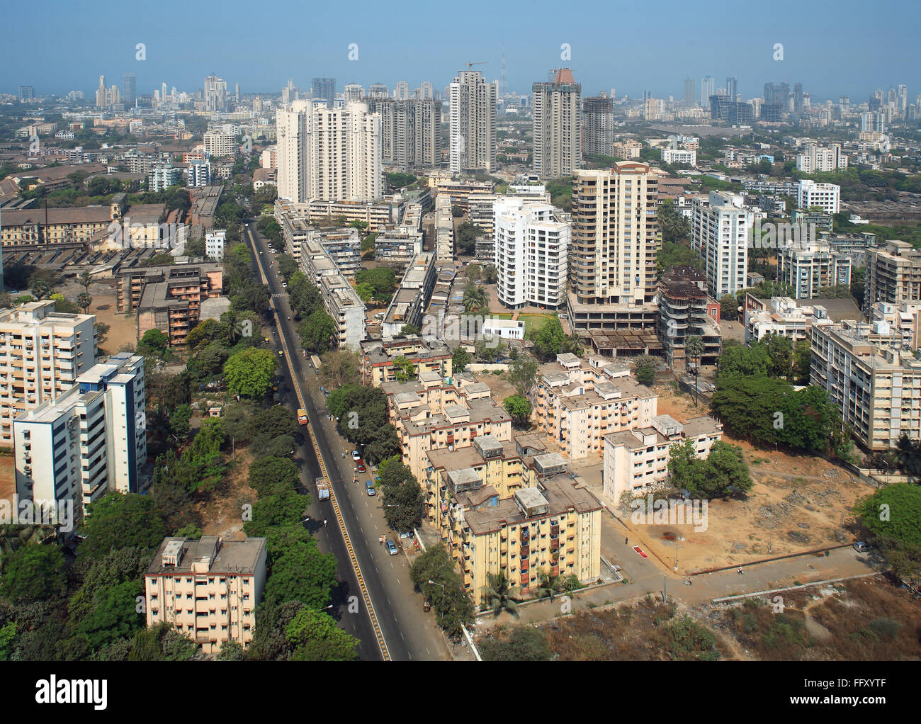 Aerial View Of Parel Suburb With High Rise Of Different Architectural  Designs , Bombay Mumbai , Maharashtra , India