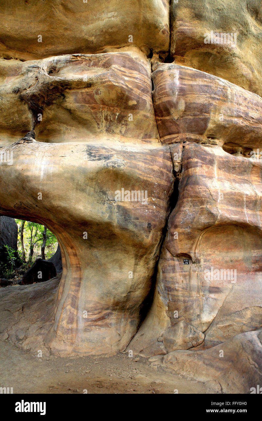 Giant rocks shelters no 15 ten thousands years old at Bhimbetka near Bhopal , Madhya Pradesh , India - Stock Image