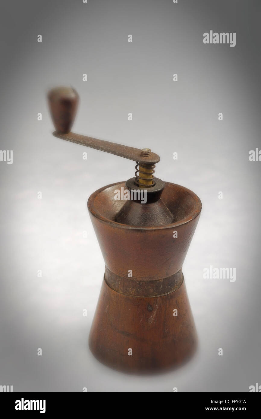 Kitchen things , hand coffee grinder on white background Stock Photo