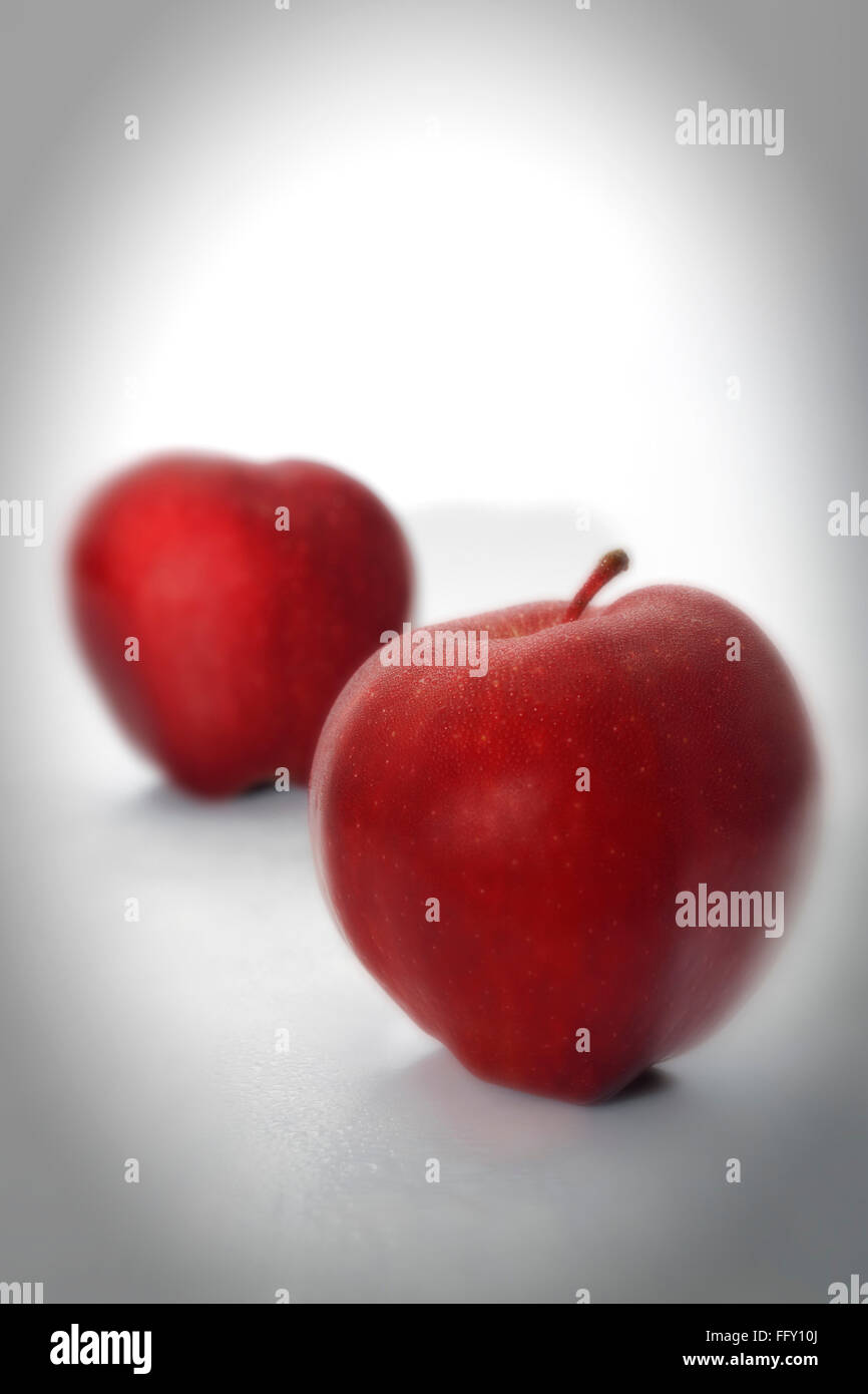 Kitchen things , fruits red apples on white background - Stock Image