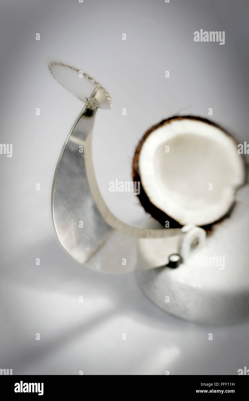 Kitchen things , vegetable cutter and coconut greater on white background Stock Photo