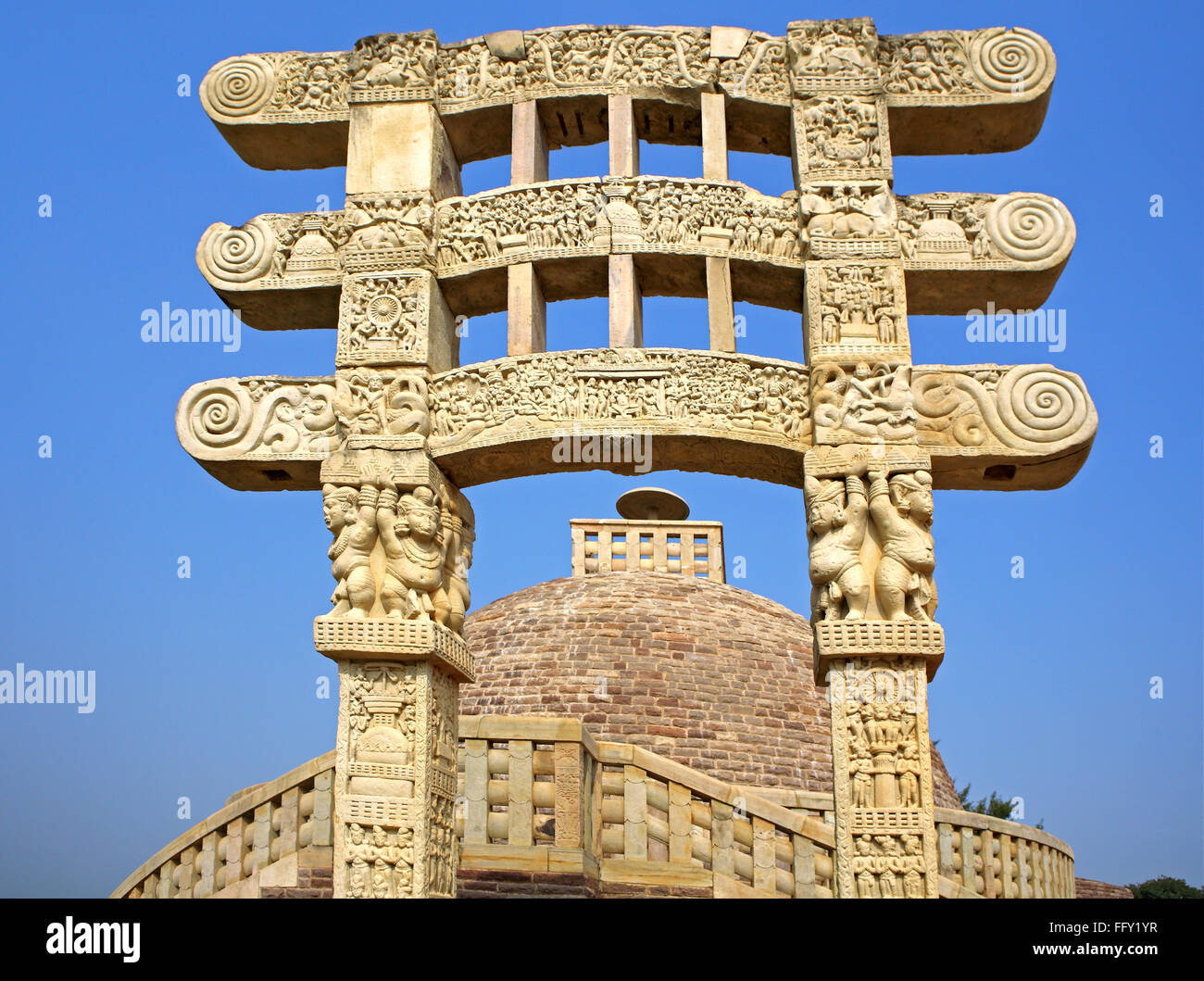 Stupa 3  with gateway in front  situated northeast of main stupa 1 similar design though smaller Sanchi Bhopal Madhya - Stock Image