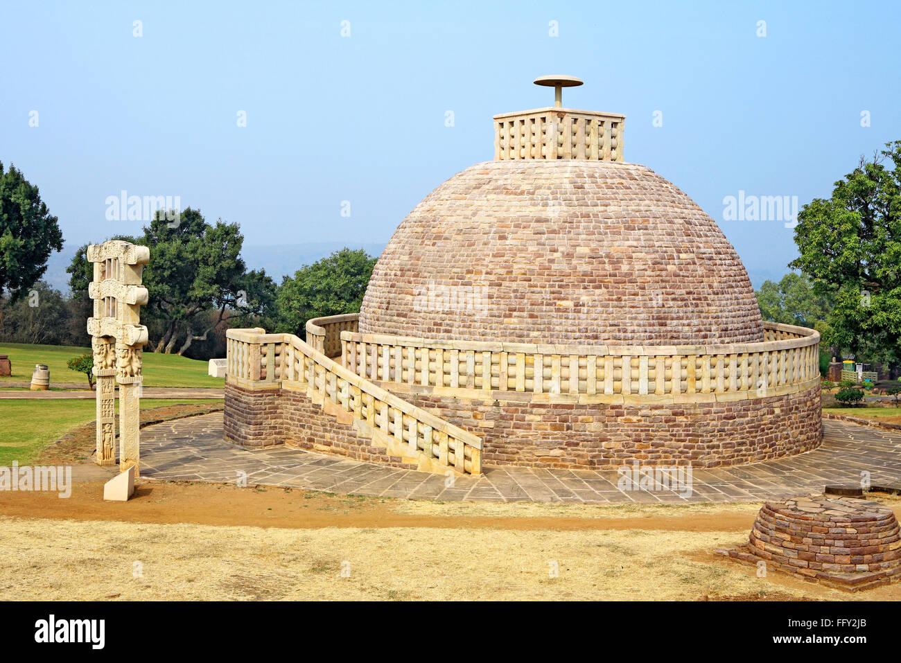 Stupa 3 stands northeast of main stupa 1 and similar in design but smaller one gateway Sanchi Bhopal Madhya Pradesh - Stock Image