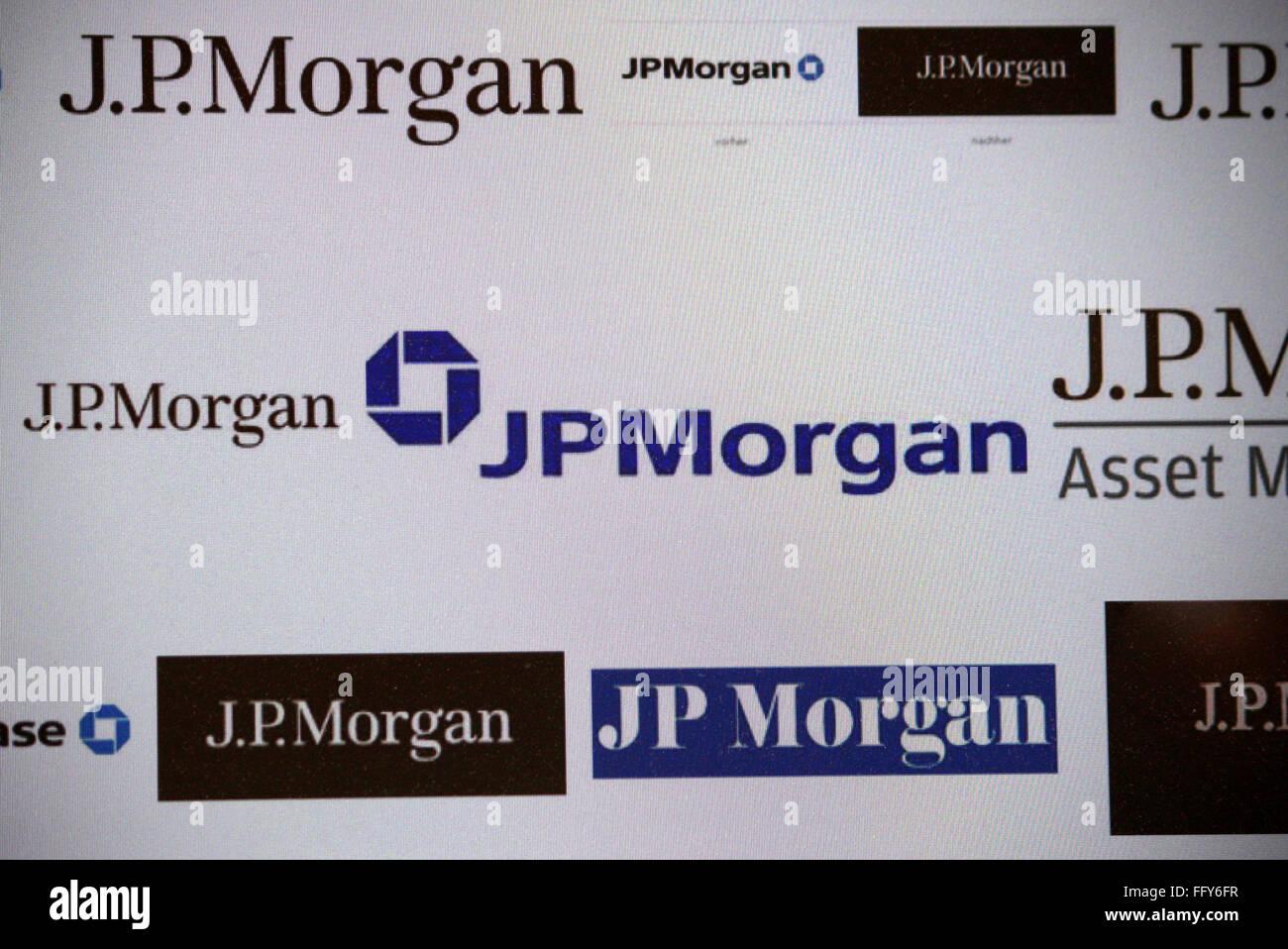 "Markenname: ""JP Morgan"", Dezember 2013, Berlin. Stock Photo"