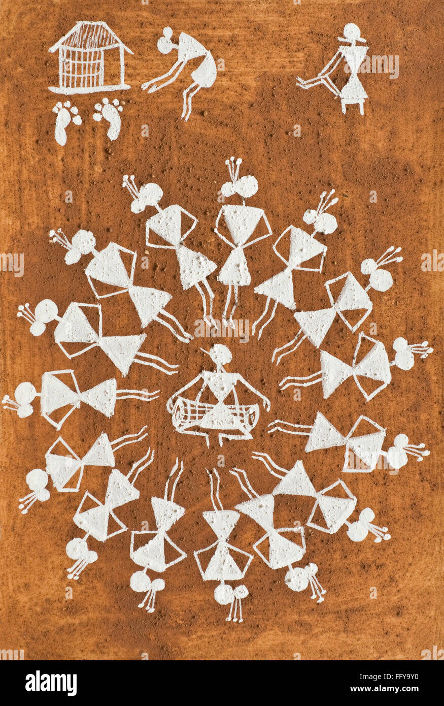 Warli painting tribal art, Thane , Maharashtra , India - Stock Image