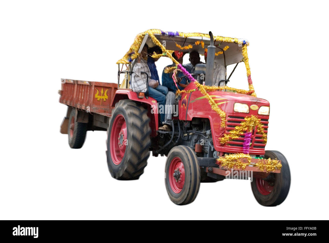 Tractor carrying  people on white background - Stock Image