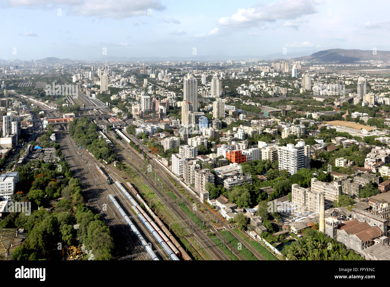 Aerial view of dadar and matunga with railway lines ; Bombay Mumbai ; Maharashtra ; India - Stock Image