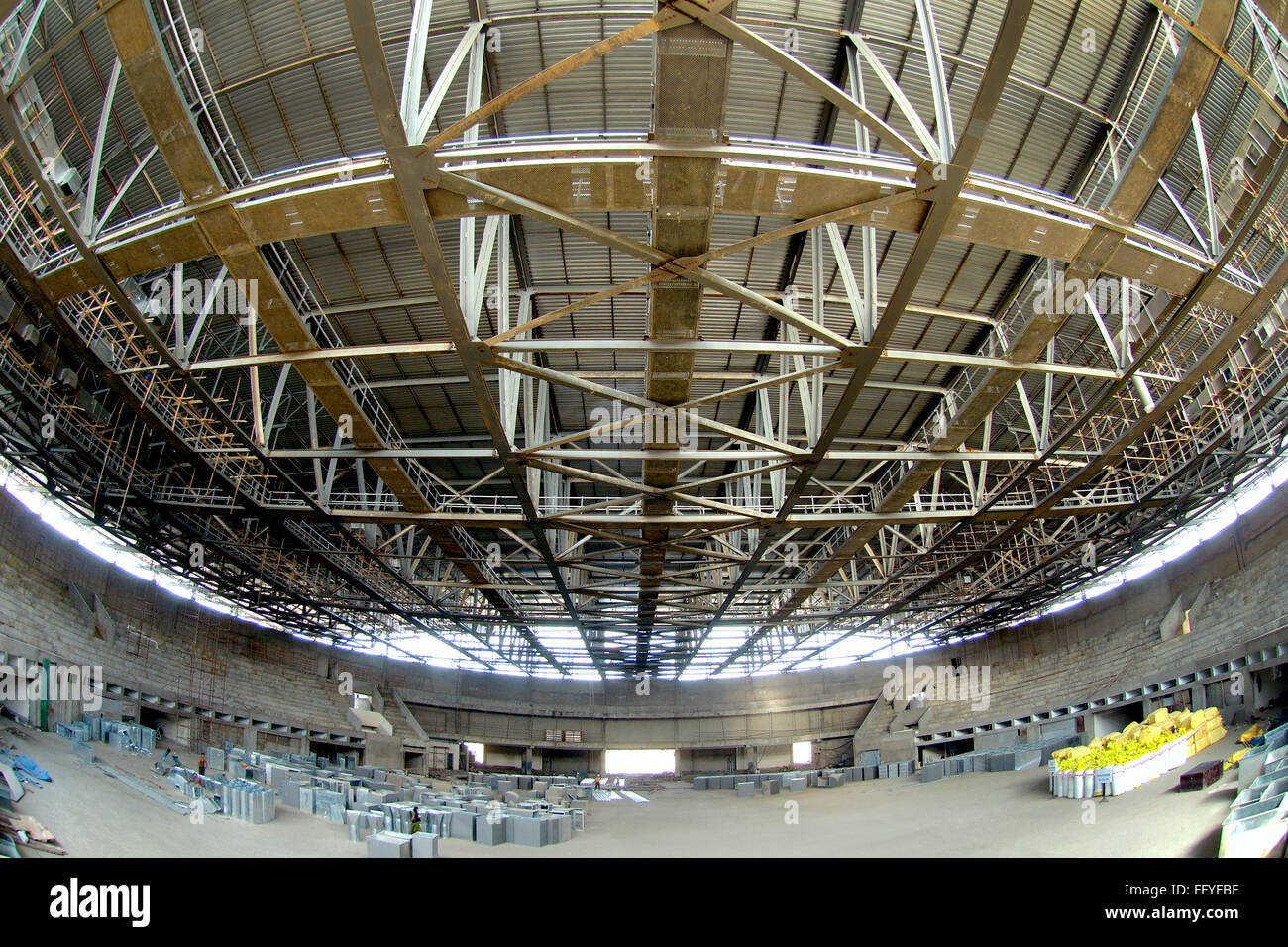 Steel structural roof of stadium under construction worli ; Bombay Mumbai ; Maharashtra ; India - Stock Image
