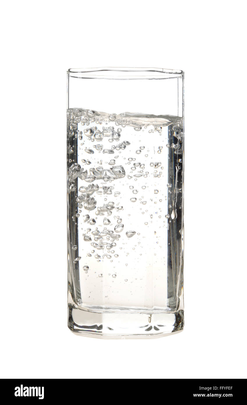 Transparent crystal glass filled with drinking water ; India - Stock Image