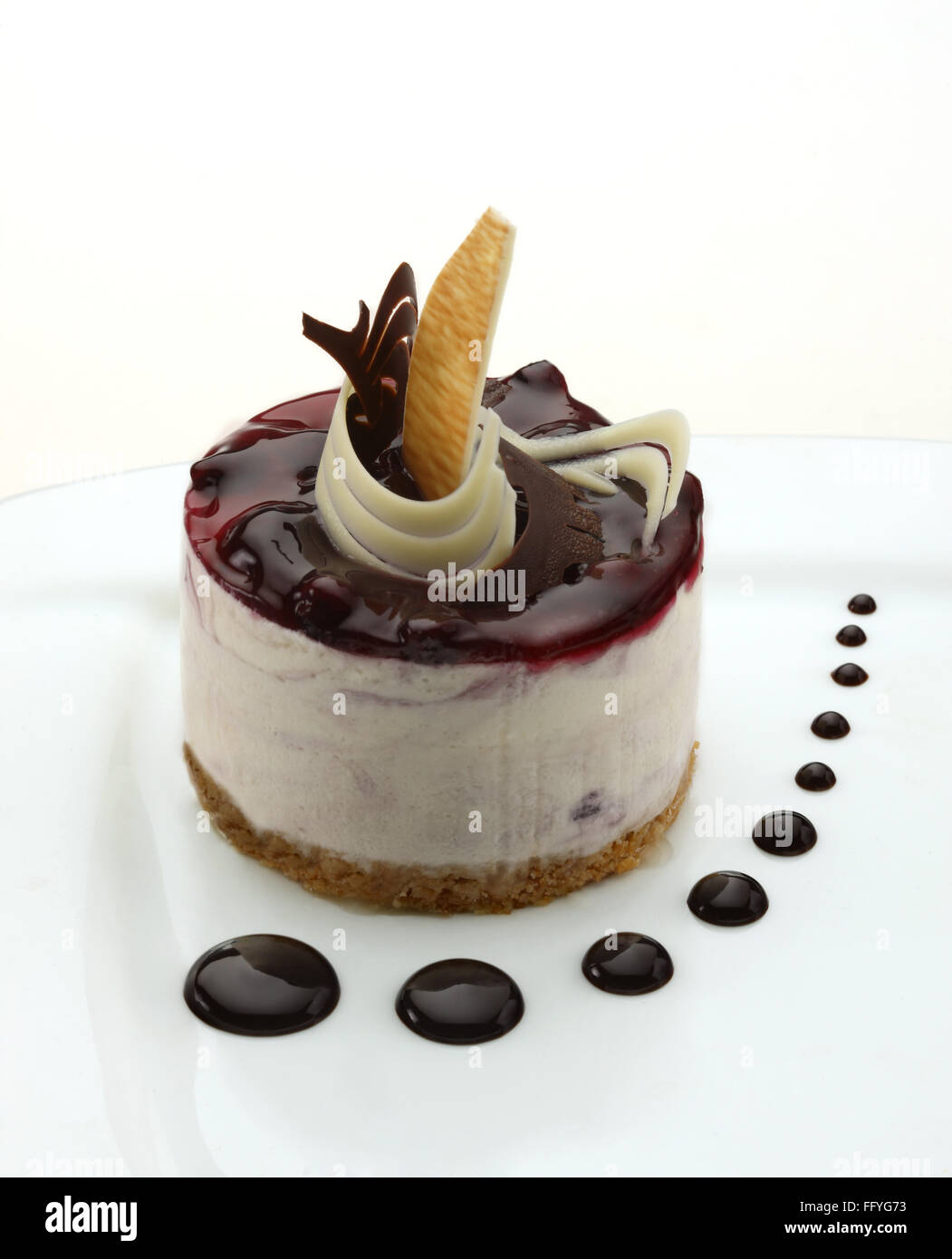 Blue berry cheese cake ; India - Stock Image