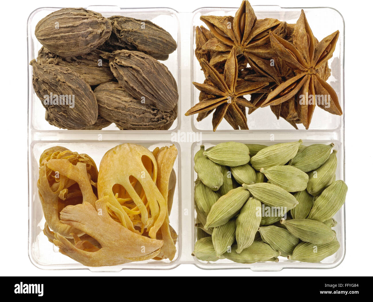 Spices big cardamom star anise dried mace blades India Stock