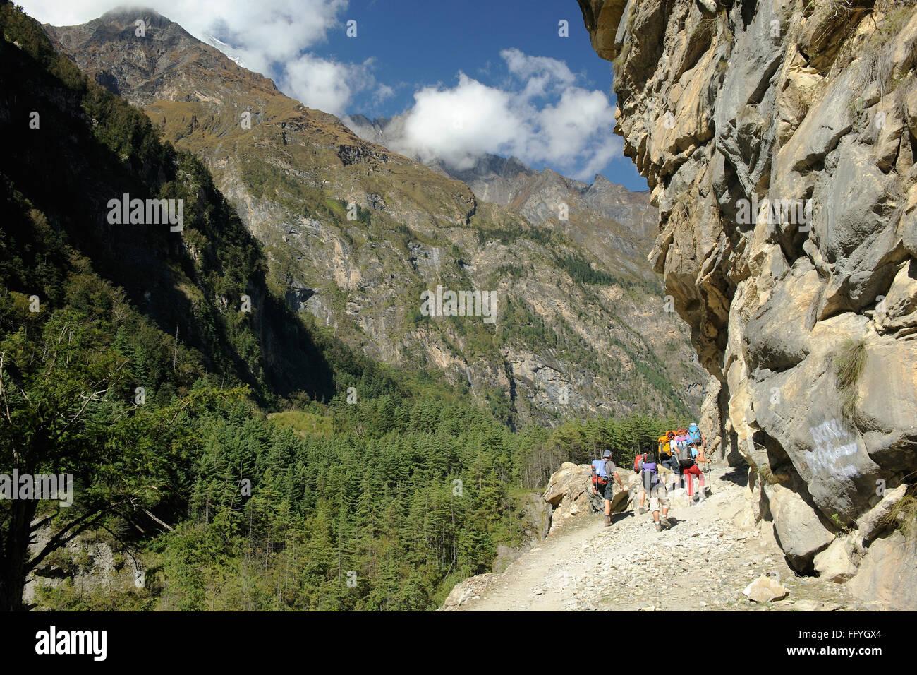 Trekkers ; Chame ; Nepal - Stock Image
