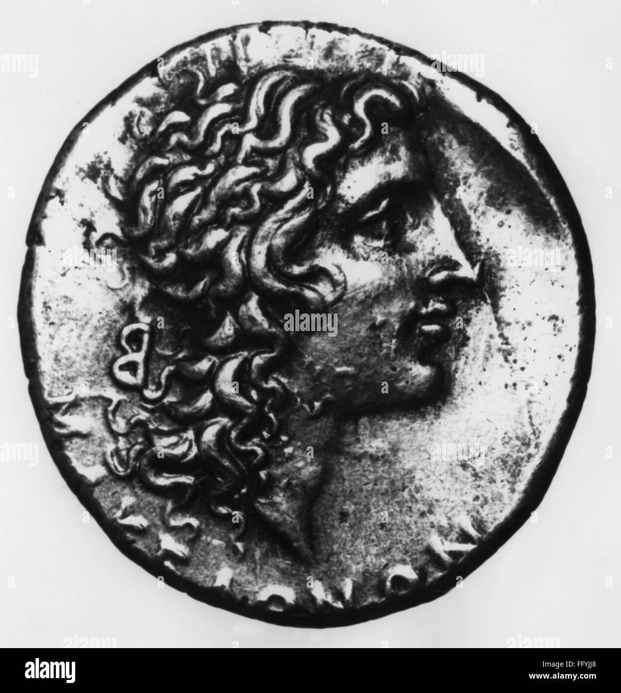 money / finances, coins, ancient world, Greece, Greek drachma, with Alexander of the Great in younger years, obverse, - Stock Image