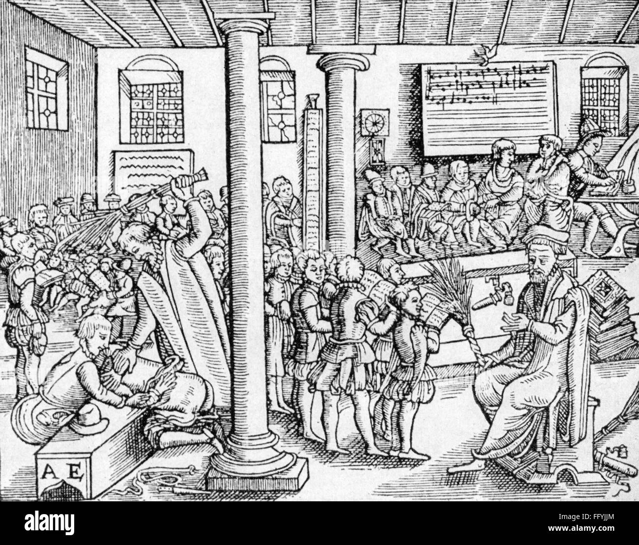 pedagogy, school / lessons / discipline, school scene, woodcut by master AE, second half 16th century, 16th century, - Stock Image
