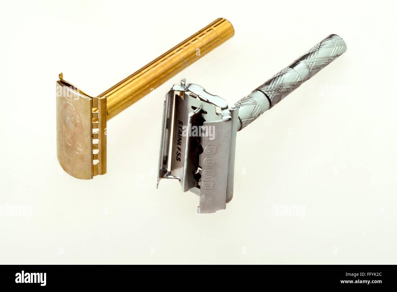 Shaving Blade Metallic Razors India - Stock Image
