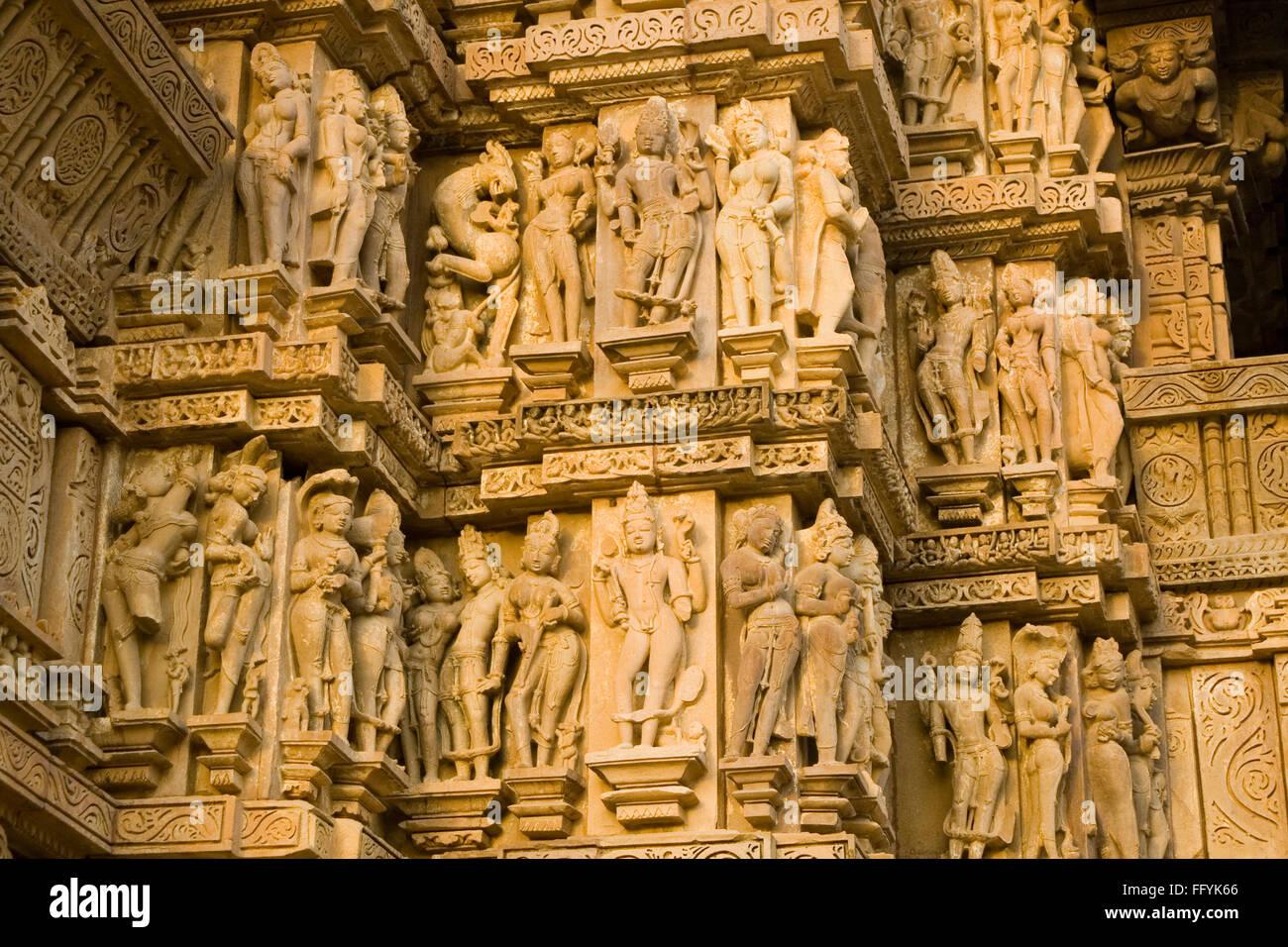 Sculptural bands at Khajuraho temple , Madhya Pradesh , India - Stock Image