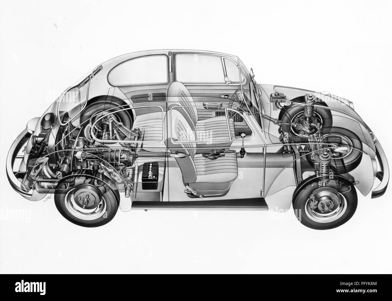 transport / transportation, car, vehicle variants, Volkswagen, VW 1302  beetle, cross section, working drawing, 1970,  Additional-Rights-Clearences-NA