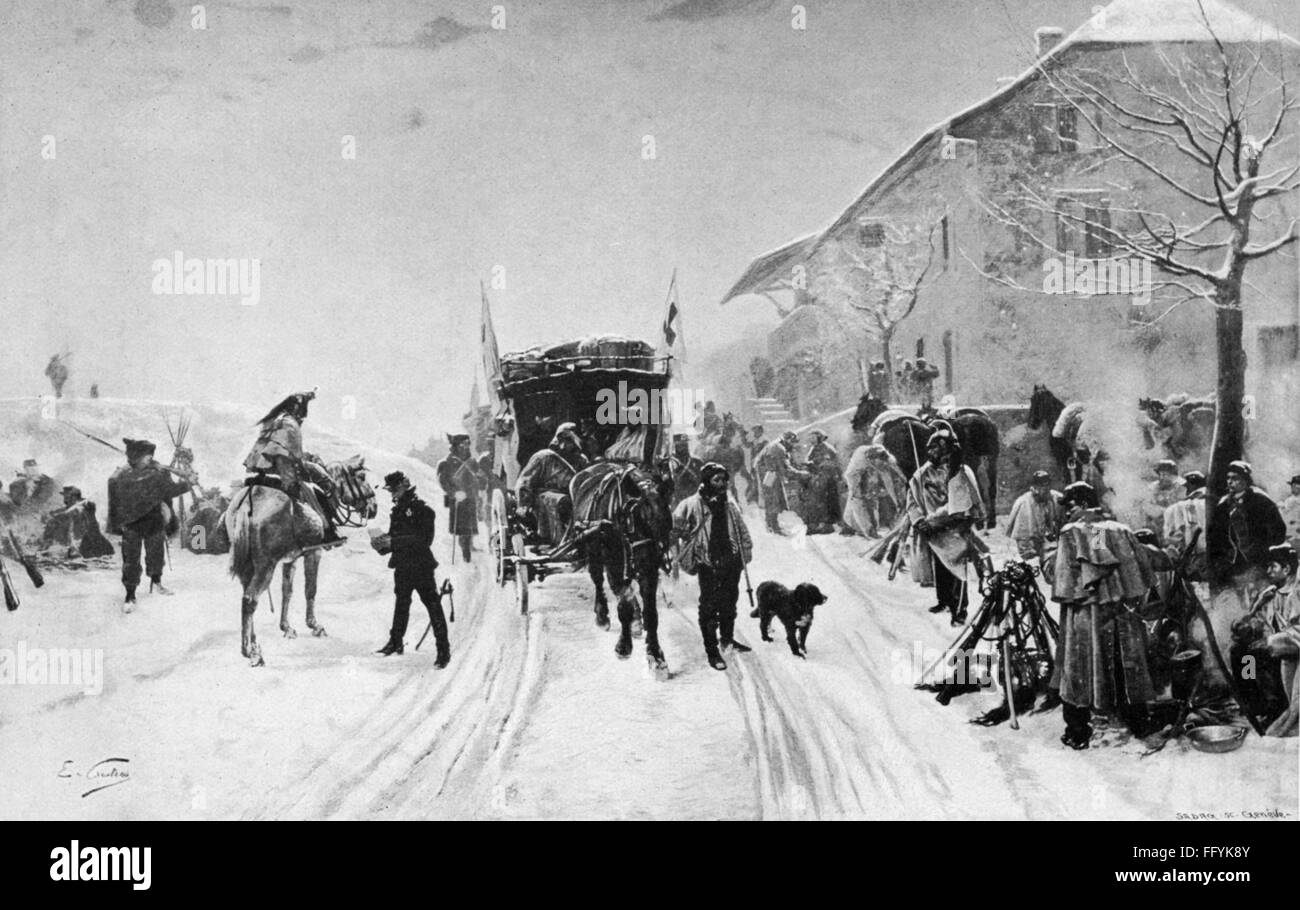 Franco-Prussian War 1870 / 1871, medics and soldiers of the Bourbaki Army in Les Verrieres passing over to Switzerland, - Stock Image