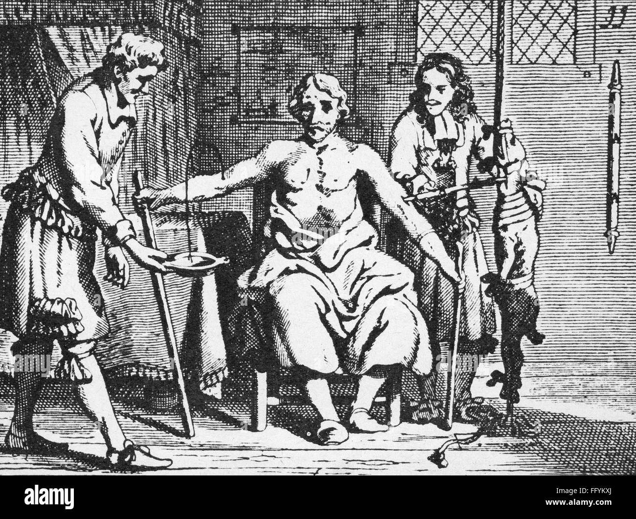 medicine, treatment, transfusion, blood transfusion from animal to human, copper engraving from: Johannes Scultetus - Stock Image
