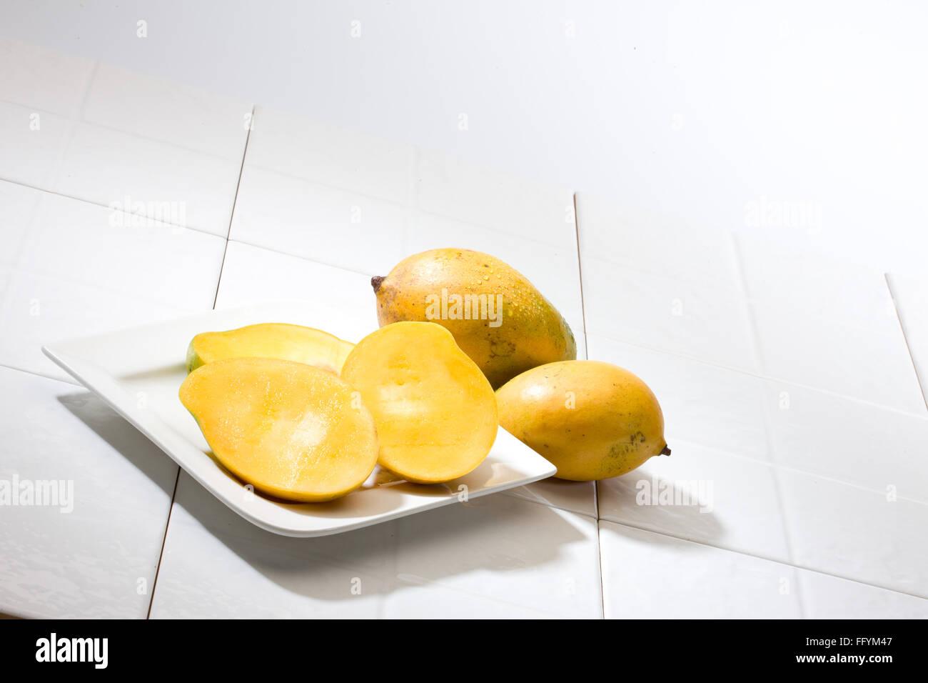 mangoes and mango slice - Stock Image