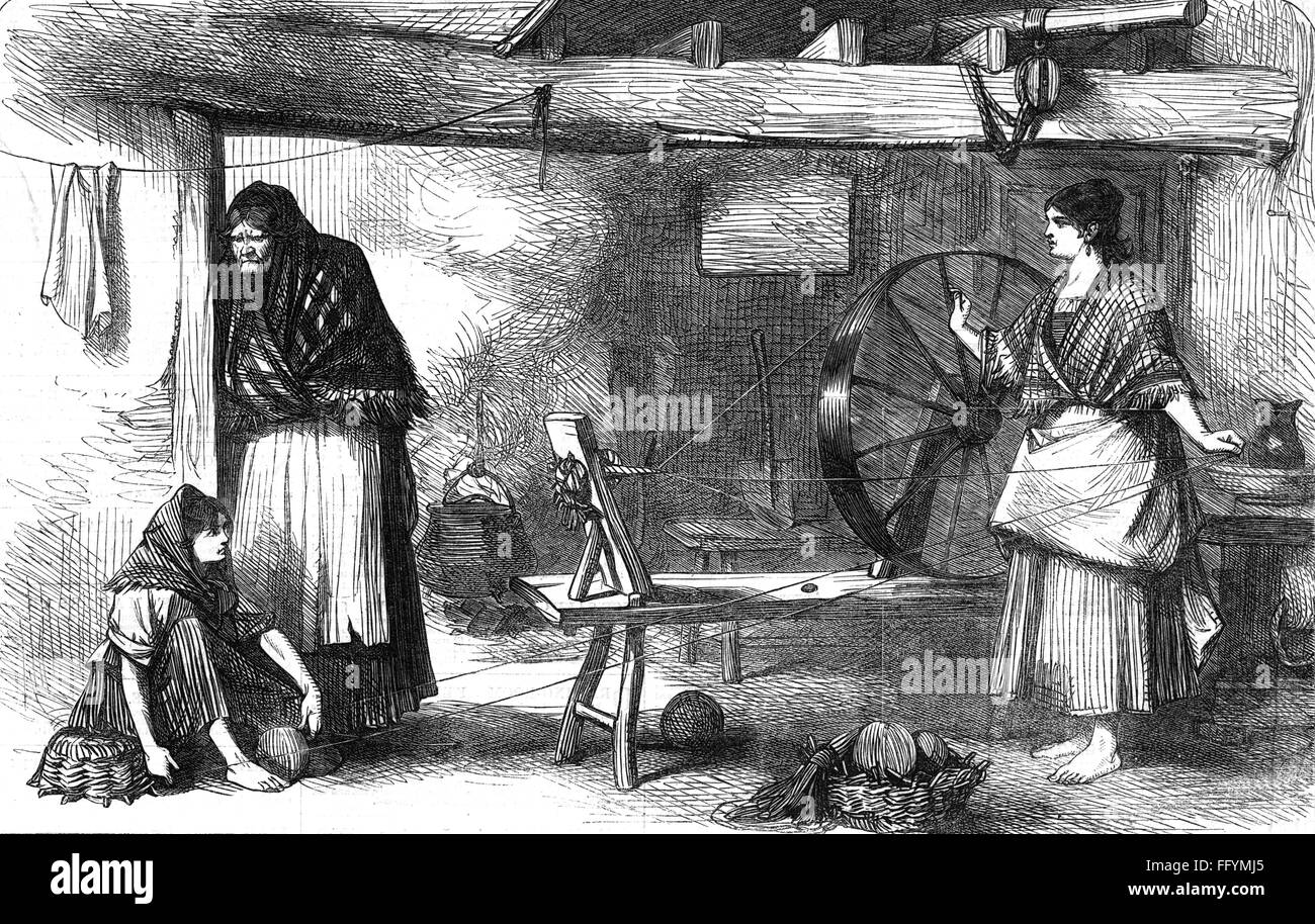 people, misery and hardship, spinning of net thread, Claddagh, County Galway, Ireland, wood engraving, 'The - Stock Image