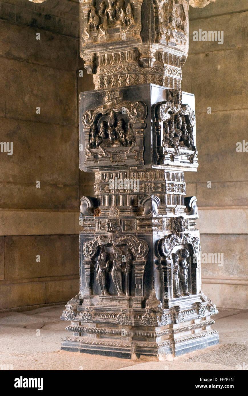 Carving On Pillars Of Ramachandra Temple Hazara Rama Hampi Karnataka India